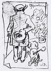 Schopenhauer mit Hund von Wilhelm Busch