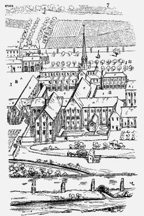 Skizze der alten Abtei Cîteaux
